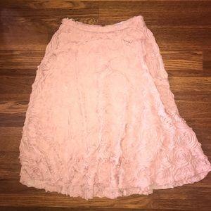 NWT Anthro Pink Ruffle Detail MIDI Skirt